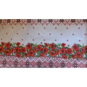 Покривка за маса десен с цветя червени плат Турция