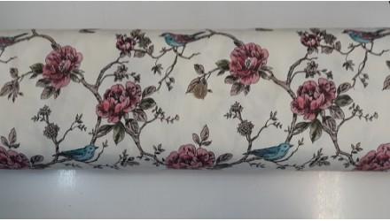 Хидрофобиран плат с птиче и цветя 2